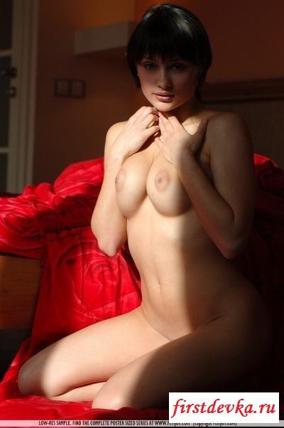 Брюнетка и красное одеяло