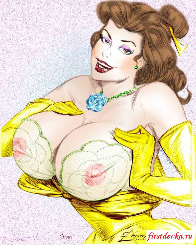 Нарисованные принцессы с голыми буферами