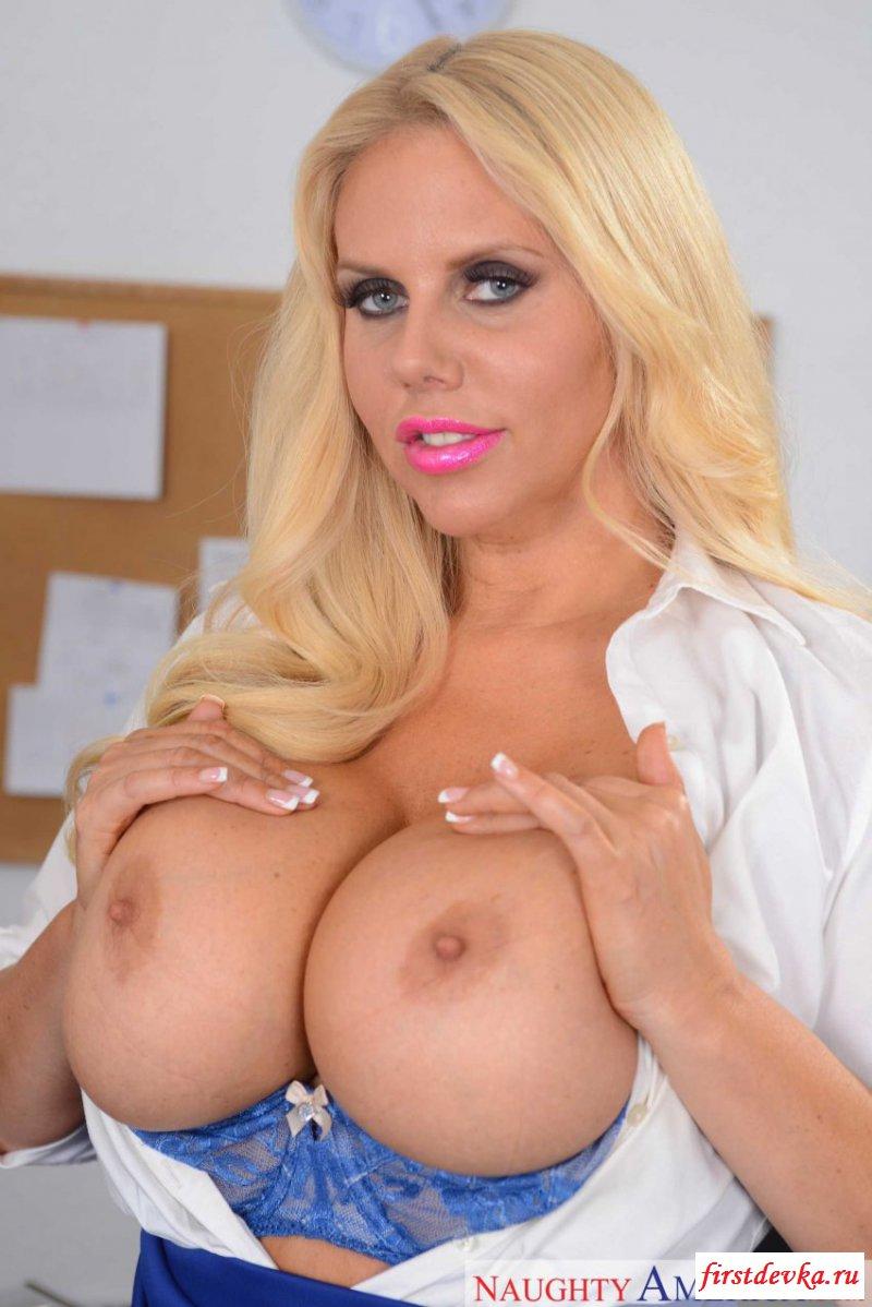 Naughty fake tits blonde