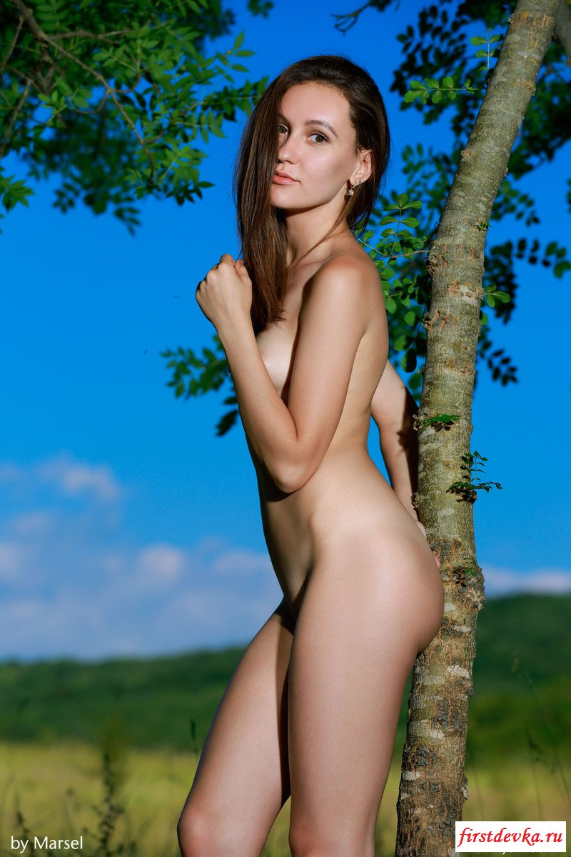 Красотка обнажилась на поляне (природа)